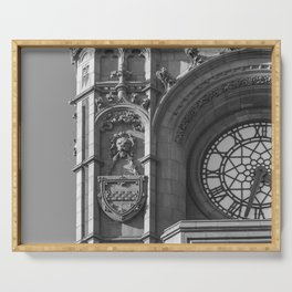Detail of Baby Big Ben Cardiff Bay Wales Clocktower in Black and White Serving Tray