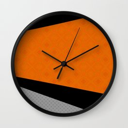Abstract black orange painting . Wall Clock