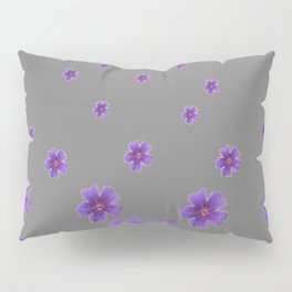 PURPLE FLOWERS COLLAGE CHARCOAL GREY Pillow Sham