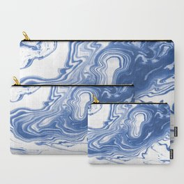 Iwao - indigo blue monochromatic spilled ink japanese paper marble trendy hipster minimal painting Carry-All Pouch