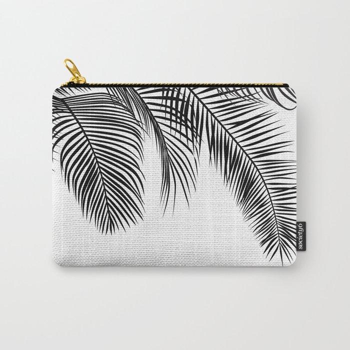black palm tree leaves pattern carry all pouch by martaolgaklara