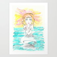 mermaid Art Prints featuring Mermaid by Lisa Bulpin