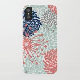 Floral Print - Coral Pink, Pale Aqua Blue, Gray, Navy iPhone Case