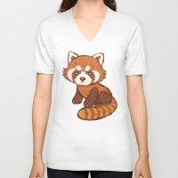 red panda V-neck T-shirts featuring Red Panda by Toru Sanogawa