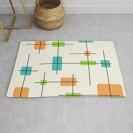 Rounded Rectangles And Squares Orange Turquoise Chartreuse Rug