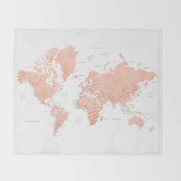"""Rose gold world map with cities, """"Hadi"""" Throw Blanket"""
