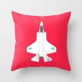 F-35 Stealth Jet Fighter - Crimson Throw Pillow