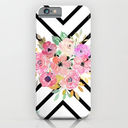 Watercolor floral and geometric diamond design iPhone Case