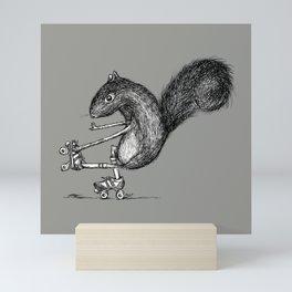 Ride On Squirrel_grey Mini Art Print