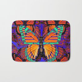 TURQUOISE MONARCH BUTTERFLY RED COLOR ART Bath Mat