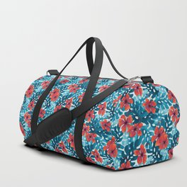 Tropical Hibiscus Pattern Red Duffle Bag