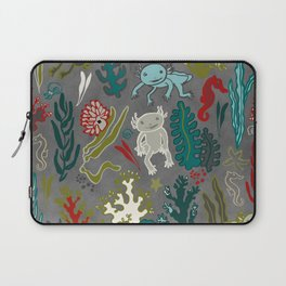 Strange creatures in the seabed. Gray and red Laptop Sleeve