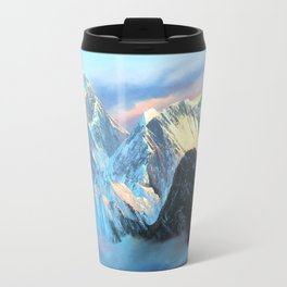 Panoramic Sunrise View Of Everest Mountain Travel Mug