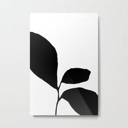 Three Leaf Seedling - Black and White Botanical Metal Print