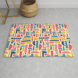Kids Shapes Collage Blue Pink Yellow Rug
