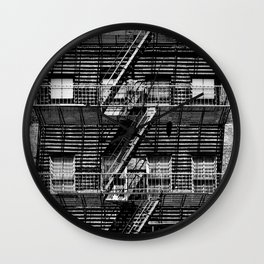 Fire escapes at noon Wall Clock