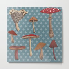 Mushroom Madness in Blue Metal Print