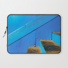 blue and brown old wood stairs with blue wall background Laptop Sleeve