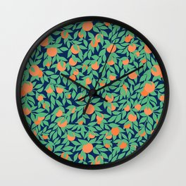 Oranges and Leaves Pattern - Navy Blue Wall Clock
