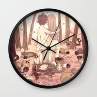 guinea pig Wall Clocks featuring guinea pig paradise by szerk