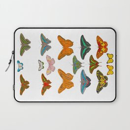 Vintage Scientific Illustration Of Colorful Butterflies Laptop Sleeve