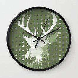 Green Deer Abstract Footprints Landscape Design Wall Clock