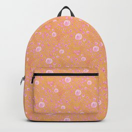 Abstract pink garden pattern in mustard background Backpack