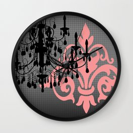 Chandelier & Damask Silhouettes Wall Clock