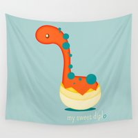 dinosaur Wall Tapestries featuring Dinosaur by Jane Mathieu
