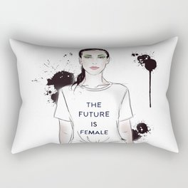 Beautiful woman with strong message t-shirt The Future is Female Rectangular Pillow
