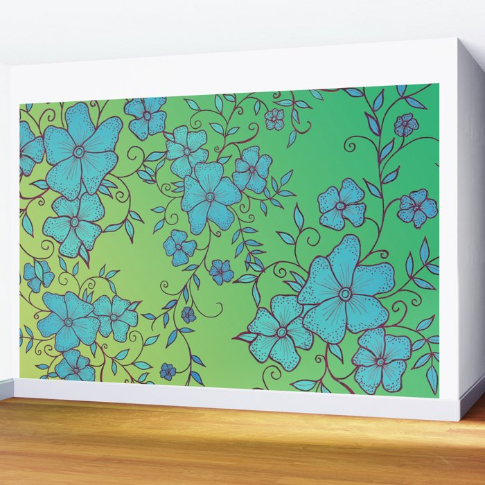 Blue and Green Flower Pattern Wall Mural