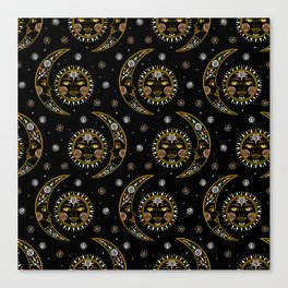 Celestial pattern in tribal style and ethnic motif Canvas Print