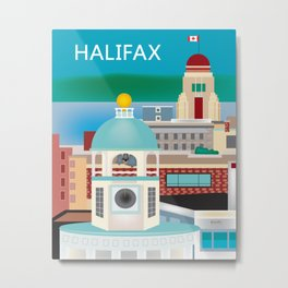 Halifax, Nova Scotia, Canada - Skyline Illustration by Loose Petals Metal Print