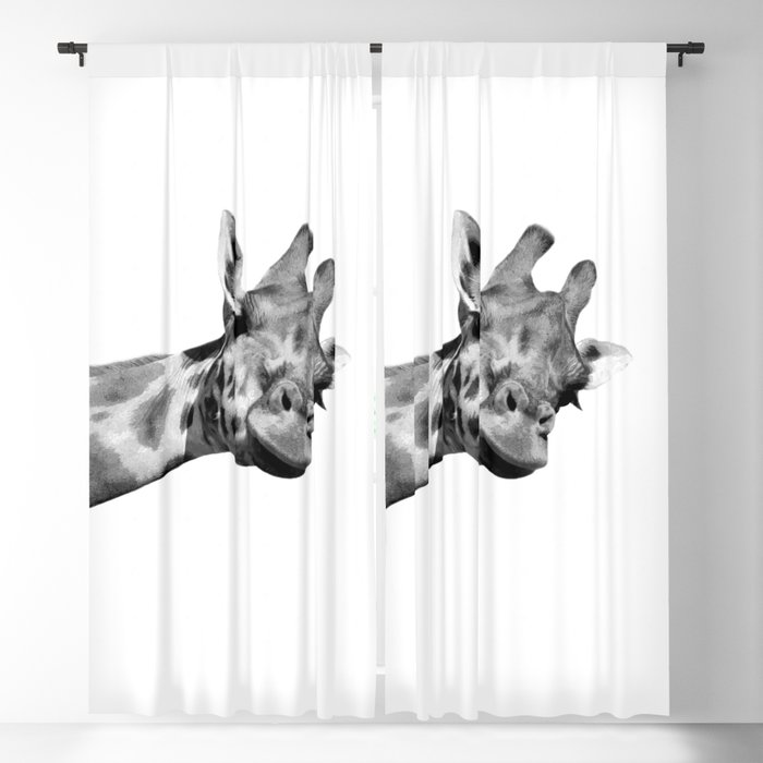 Black and white giraffe Blackout Curtain