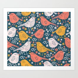 Bird Song Yellow & Pink Art Print