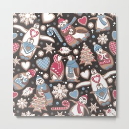 Penguin Christmas gingerbread biscuits Metal Print