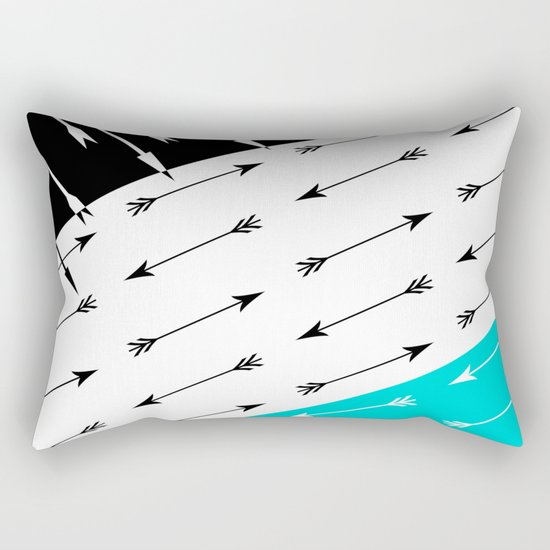 Turquoise black white pattern Boom 2 . Rectangular Pillow