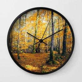 Yellow Trees Wall Clock