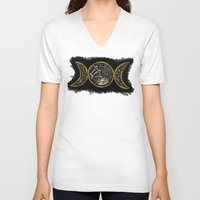 steam punk V-neck T-shirts featuring steam punk goddess  by Shonda Robb