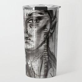 Alert - Charcoal on Newspaper Figure Drawing Travel Mug