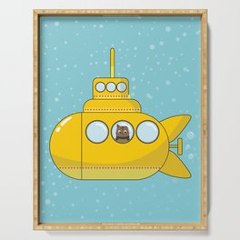 Yellow submarine with a cat and bubbles Serving Tray