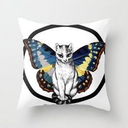 Butterfly Cat Throw Pillow