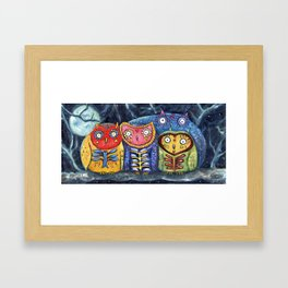 Dia de Muertos Owl Party Framed Art Print