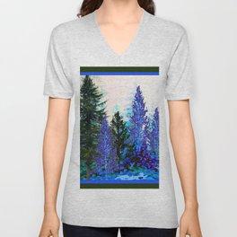 BLUE-GREEN MOUNTAIN FOREST LANDSCAPE Unisex V-Neck