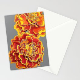 Marigold in Burnt Orange and Grey by Hxlxynxchxle Stationery Cards