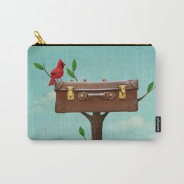 red bird and vintage suitcase on tree Carry-All Pouch