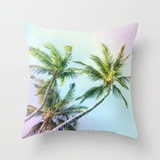 Relaxing Rainbow Color Palms Throw Pillow