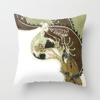daenerys Throw Pillows featuring The Serpent Mother by Luis Uzcategui