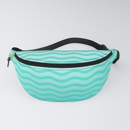 Turquoise Tropical Faded Ombre-Shaded Ocean Blue Green Sea Chevron Fanny Pack