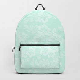 Celadon Mint Green Pastels Tropical Hibiscus Flowers Pattern Backpack